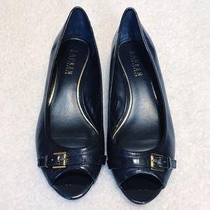 Ralph Lauren blue patent leather flats size 8